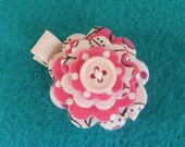 Pink Print Felt and Fabric Flower Hair Clippie
