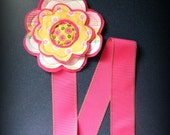 Hot Pink and Yellow Daisy Felt Flower Hair Bow and Clippie Holder Keeper with Hot Pink Stitched Ribbon