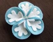Blue Winter Snowflake Flower Felt Hair Clippie