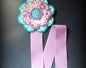 Purple Floral Daisy Felt Flower Bow and Clippie Holder Keeper with Lavender Stitched Ribbon