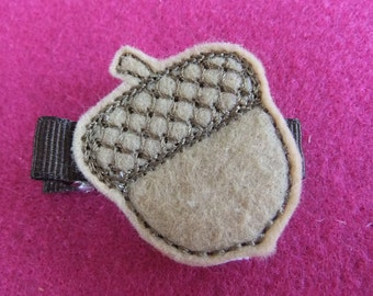 Acorn Harvest Embroidered Felt Hair Bow Clip