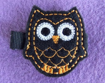Black Owl Embroidered Felt Hair Bow Clip with Orange Stitching