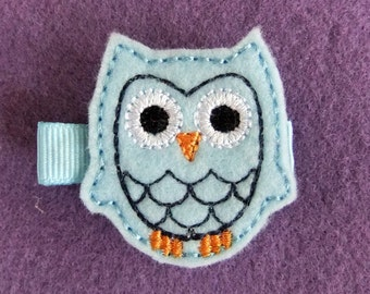 Baby Blue Owl Embroidered Felt Hair Bow Clip with Blue Stitching