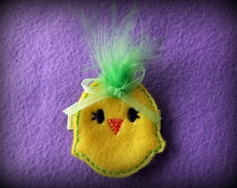 Spring Chick with Lime Green Feather and Felt Hair Bow Clip