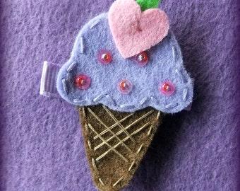 Grape Felt Ice Cream Cone Hair Bow Clip
