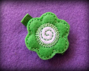 Bright Green Felt Flower Embroidered Hair Bow Clip