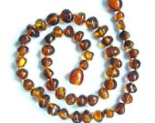 Baltic Amber Baby Teething Necklace. Cognac colour.  Handmade knotted.