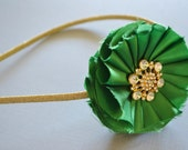 Green and Gold Headband Featuring Handmade Bright Kelly Green Satin Flower with Gold and Rhinestone Accent- Perfect for St. Patrick's Day