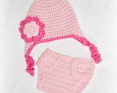 Crochet Baby Twirl Earflap Hat and Diaper Cover Set Newborn Soft Pink/Watermelon MADE TO ORDER