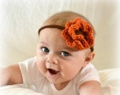 Crochet Baby Girl Newborn  Flower Headband Pumpkin Orange and Chocolate Brown - MADE TO ORDER