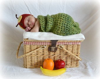 The Very Hungry Caterpillar Crochet Newborn Cocoon Hat Set - MADE TO ORDER