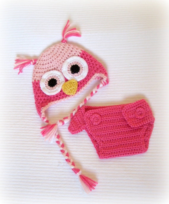 Crochet Baby Owl Hat and Diaper Cover Set Newborn Watermelon/Soft Pink MADE TO ORDER