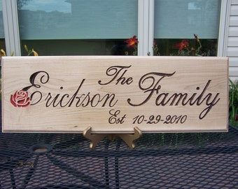 8 x 24 Family Name Sign, personalized with the information you give.