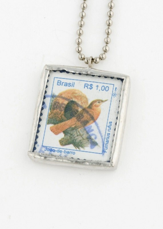 Soldered Pendant with a 1994 Brazilian postage stamp