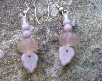 Purple Pink Leaf Earrings
