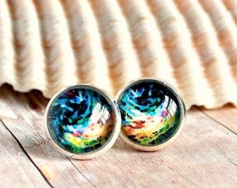 colorful post earrings, stud earrings, gifts for women, photo jewelry