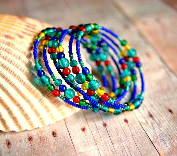 carnivale beaded memory wire bracelet