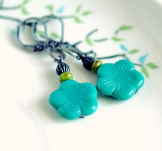 aqua blue flower and gunmetal leverback earrings