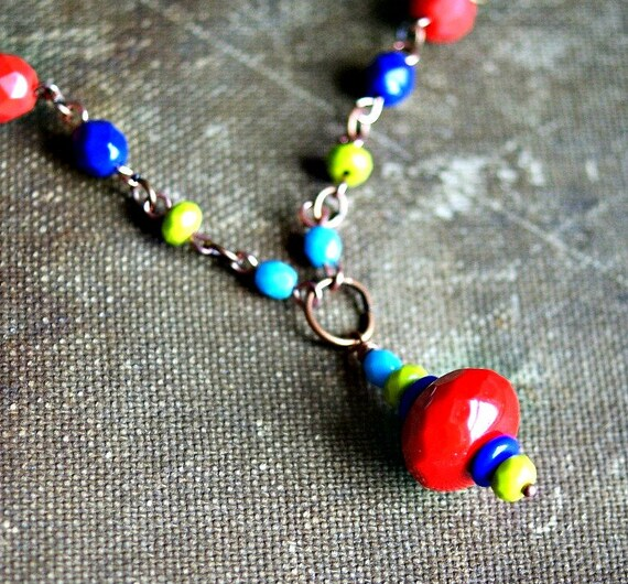 circus circus colorful beaded copper necklace