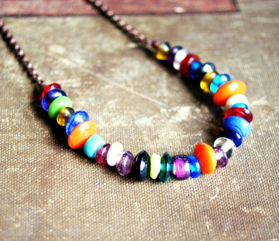 rainbow rondelles colorful copper beaded necklace