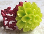 Bright Lime Green Flower Ring.  One Size Fits All.  Lead Free.  Nickel Free.