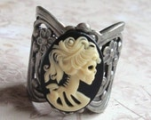 Zombie Cameo Ring, Ivory and Black, Thick Band, Adjustable Antique Silver Band