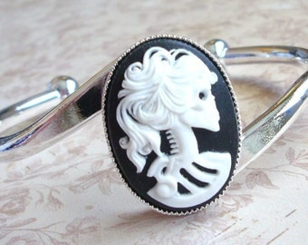 CLEARANCE / Skeleton Goddess Cameo Cuff Bracelet, Silver Band