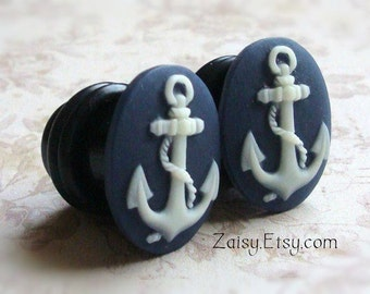 Anchor Plugs for Gauged Ears Sizes 1/2 inch, 00g, 0g, 2G, 4G , 6G, 4mm, 5mm, 6mm, 8mm, 10mm, 12.7mm, Also For Pierced Ears