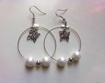 Hoops with white & metallic (silver tone) beads / wedding /spring/ ready to ship