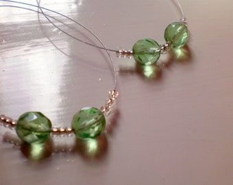 dangle hoops with clear and green beads/ready to ship