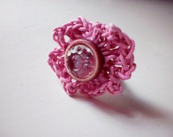 pink crochet ring