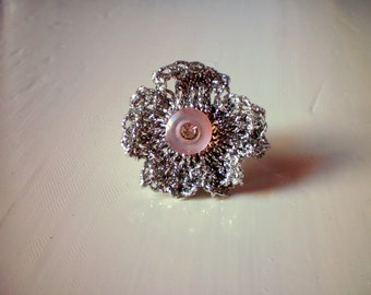 silver crochet ring / ready to ship