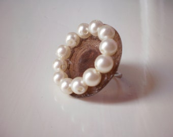 round pearl ring / wedding / bride/ bridesmaid /  free combined shipping/ ready to ship
