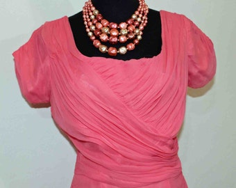 "50s/60s Elegant  Pink Chiffon Wiggle Dress By The Wedding Belle Hayward Size 34-35"" Bust"
