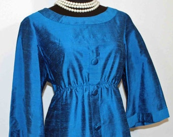 1960s Blue Silk Organza Dress Shift style Dress Size L
