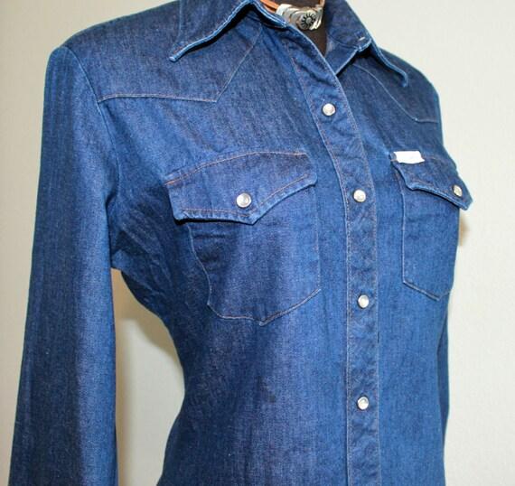 """1970s Wrangler Jean long sleeves shirt  size 34"""""""