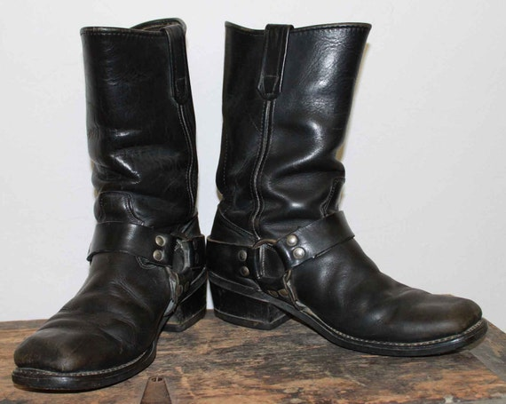 70s 80s Black Leather Harness Biker Boots