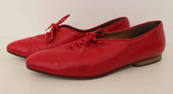 1980s Massimo red leather pointed toe Oxford  size 8