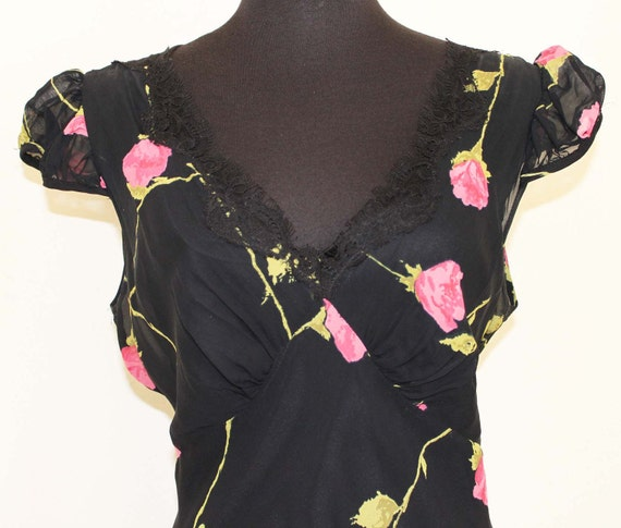 30s  Inspired Vintage Betsy Johnson Chiffon / Lace Rose Pattern Dress Size 12 RESERVED for Xochitl