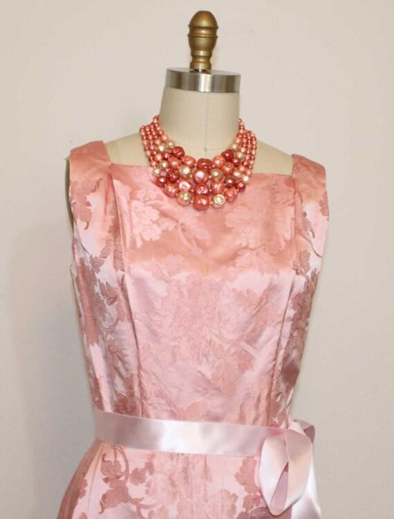 "1950sRESERVED FOR MICHELLE Dynasty Elegant Champagne Pink Sleeveless Brocade Dress Bust 38"""