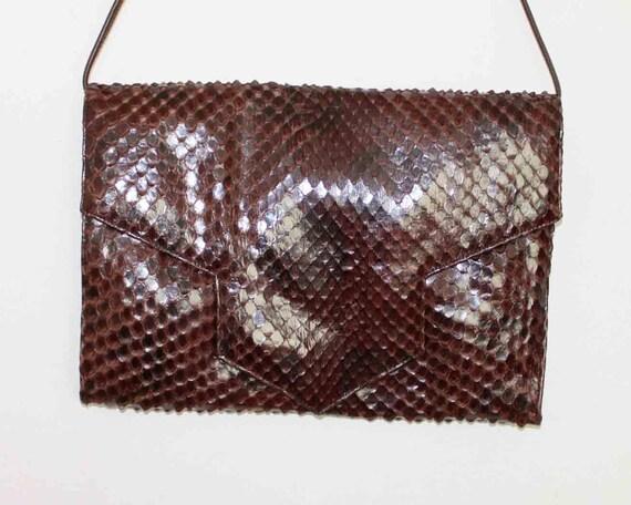 1980s  Sandra Roberts Vintage brown Snake Skin Purse