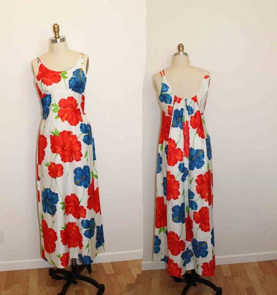 1960s Vintage Hawaiian Flower Maxi Dress Size L