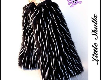 Cyber Legwarmers Black with UV White Spikes Furry Boot Covers Leg Warmers Rave Fluffies