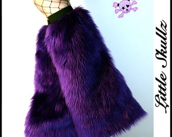 Purple Furry Boot Covers Raver Fuzzies Fluffy Leg Warmers