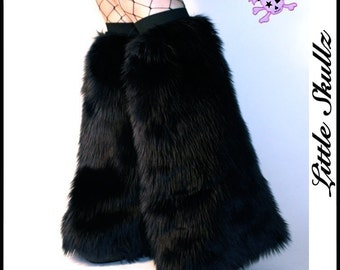 Black Gogo Fluffies Furry Boot Covers Rave Fuzzy Leg Warmers