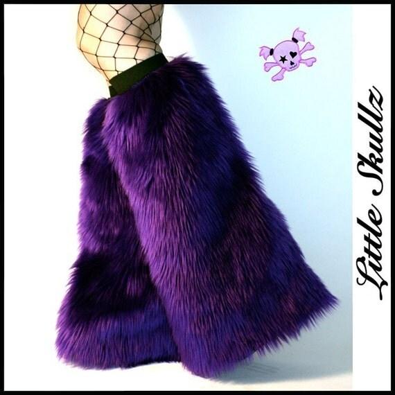 Purple Furry Boot Covers Raver Fuzzies Fluffy Leg Warmers