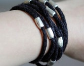 """Wrapped Bracelet """"Janny"""" with Long Metal Beads"""