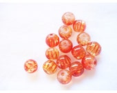 8mm cracked fire red orange glass beads (16)