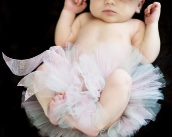 Newborn Tutu - Silver, White, and Pink - Ready-To-Ship