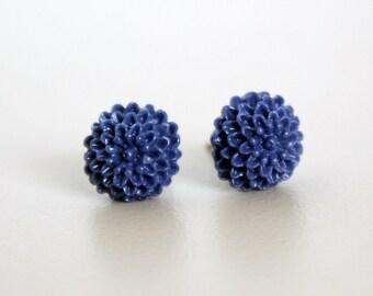 Tiny Mum Earrings, Plum Purple Handmade Resin Cabochons on Hypoallergenic Titanium Posts/Studs
